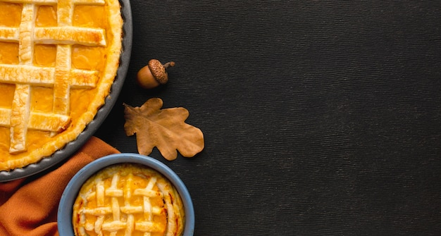 Top view of thanksgiving concept with copy space Premium Photo