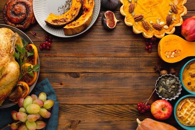 Top view of thanksgiving concept with copy space Free Photo
