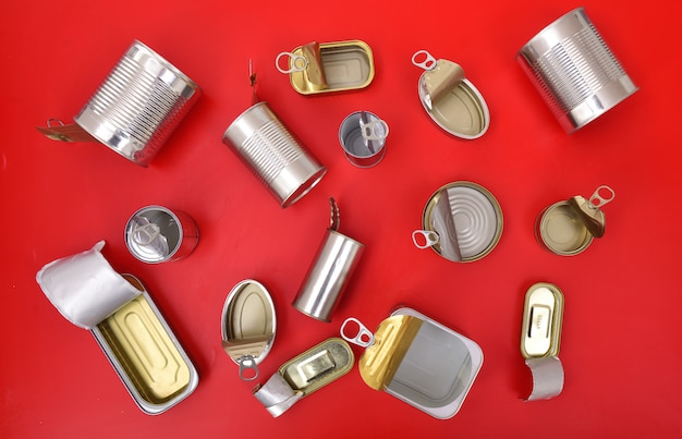 Top view of tin can isolated on red Premium Photo