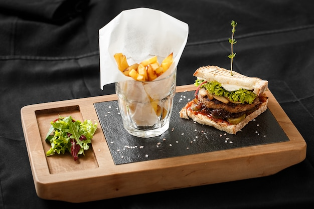 Top view of toast with fried bacon and potatoes Premium Photo