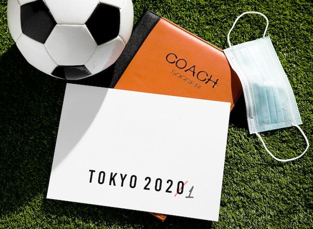Top view tokyo 2020 sports event postponed arrangement Free Photo
