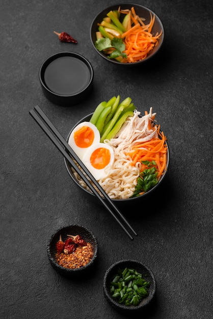Top view of traditional asian noodles with eggs Free Photo