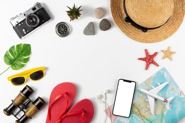 Коллекция элементов путешествия вид сверху Бесплатные Фотографии