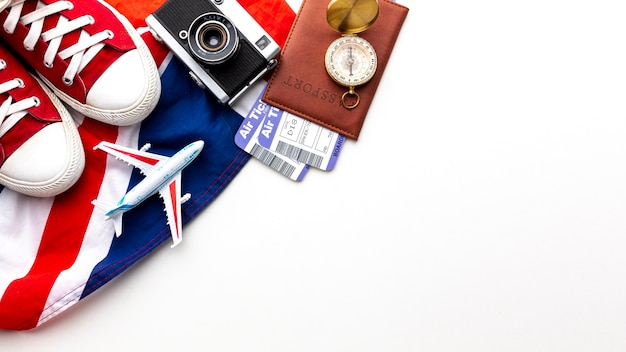 Top view travel elements with copy space Free Photo