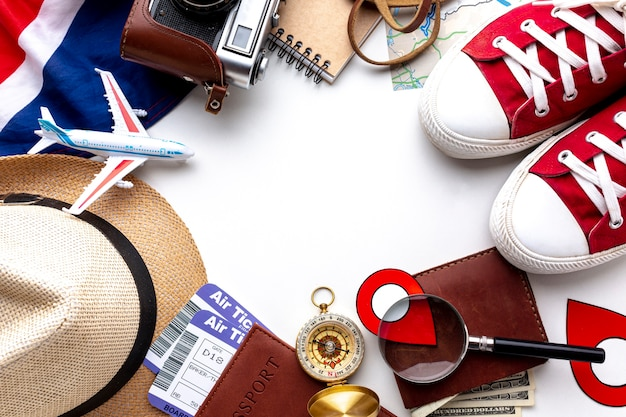 Top view travel kit essentials Free Photo