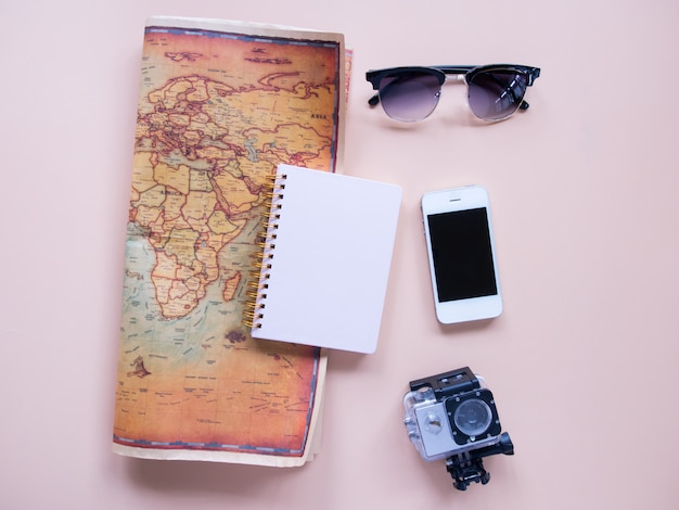 Top view of travel planning. Premium Photo