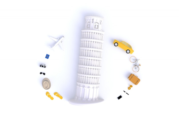 Top view of traveler's accessories abstract minimal white background Premium Photo