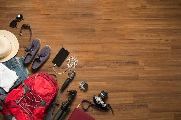 Top view of traveler's accessories Premium Photo