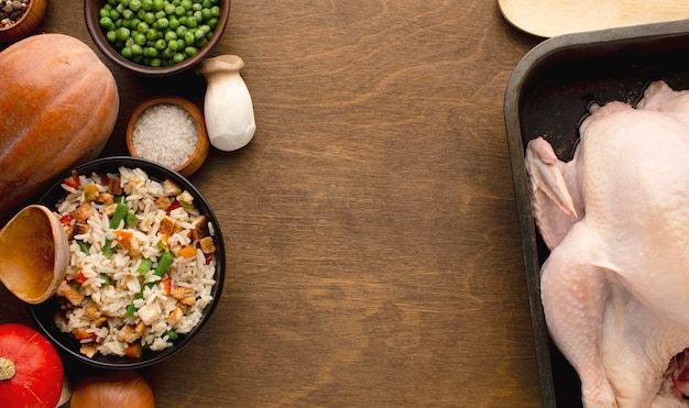 Top view of turkey preparation for thanksgiving Premium Photo