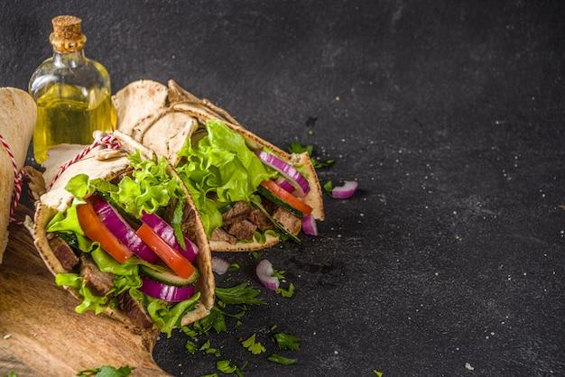 Premium Photo Top View Turkish Kebab Wrap