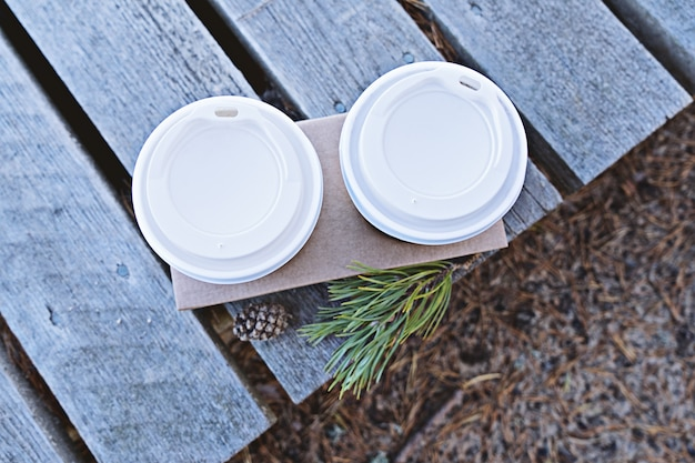 Top view of two cups of coffee to go Premium Photo