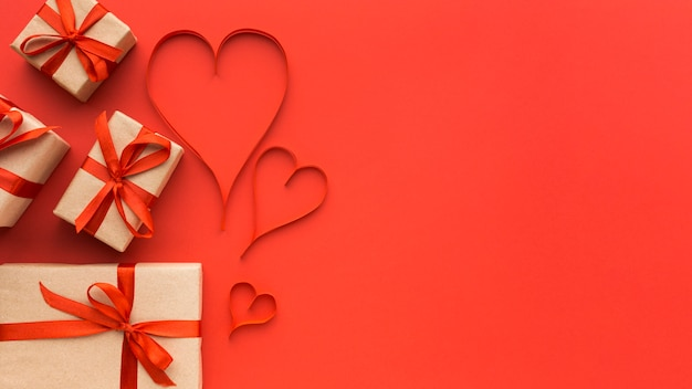 Top view of valentine's day concept with copy space Premium Photo
