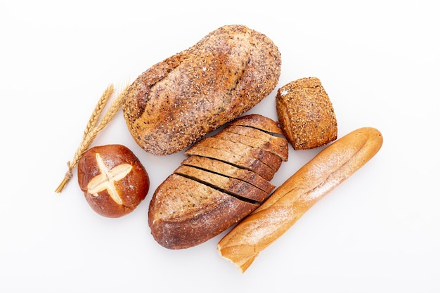 Top view variety of fresh baked bread Free Photo