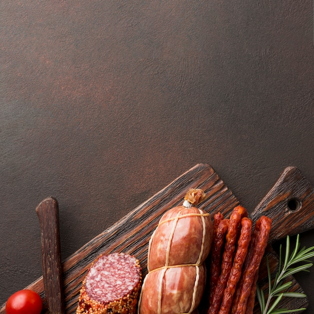 Top view variety of fresh meat on the table Free Photo