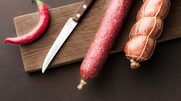 Top view variety of fresh pork meat on the table Free Photo