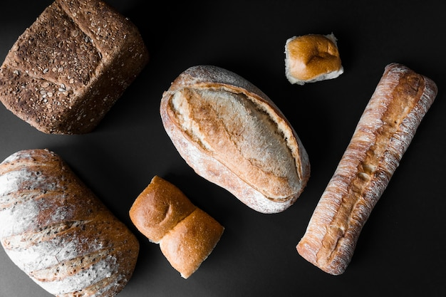 Top view various types of delicious bread Free Photo