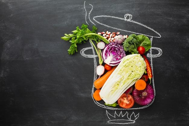 Top view vegan arrangement with copy space Free Photo