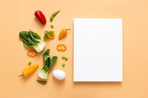 Овощи вид сверху с пустым прямоугольником Бесплатные Фотографии