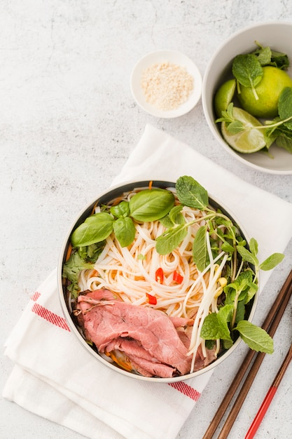 Top view of vietnamese dish with mint Free Photo