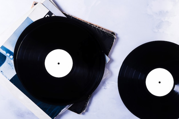Top view of vinyl disks Free Photo