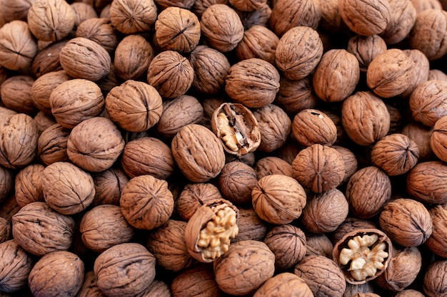 Top view walnuts surface Free Photo