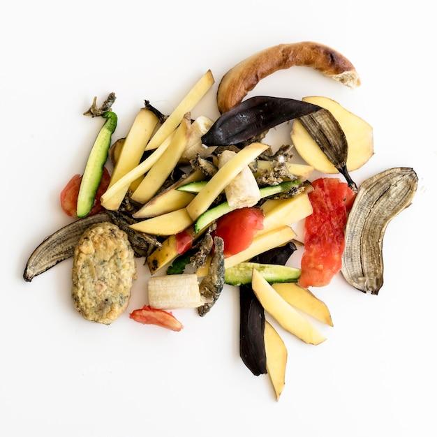 Вид сверху на отходы с органическими овощами Бесплатные Фотографии