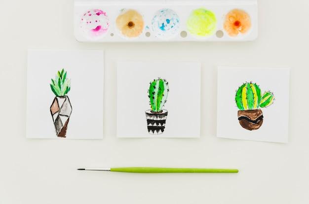 Top view watercolor cactus drawings Free Photo