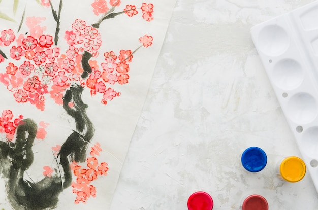 Top view watercolor floral tree drawing Free Photo