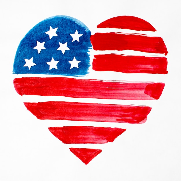 Top view watercolor heart shaped usa flag Free Photo