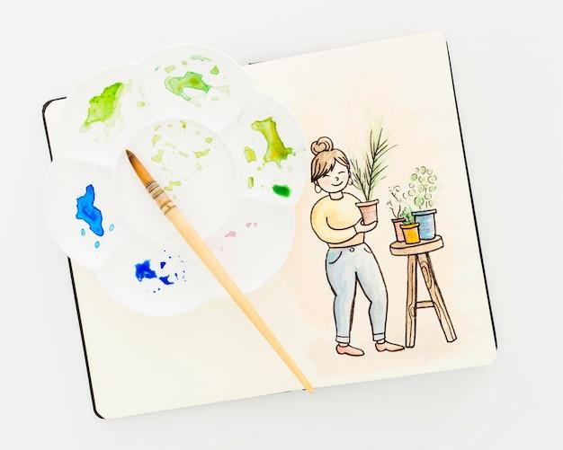 테이블에 상위 뷰 수채화 그림 무료 사진