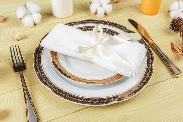 Top view of a wedding table setting with decorations Premium Photo
