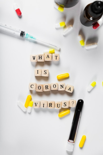 Top view what is coronavirus concept Free Photo