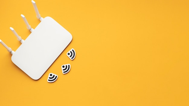 Top view of wi-fi router with copy space Free Photo