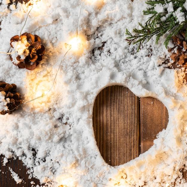 Vista dall'alto del concetto di neve invernale Foto Gratuite