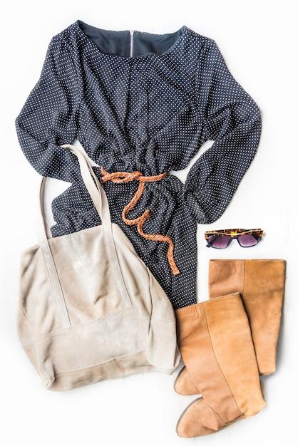Top view of woman clothing set. Premium Photo