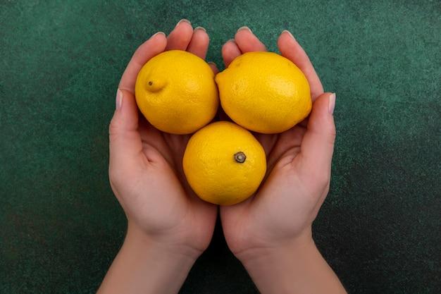 Donna di vista superiore che tiene i limoni nelle sue mani su priorità bassa verde Foto Gratuite