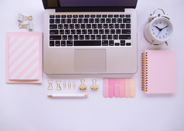Top view of women's office desk with copy space. Premium Photo