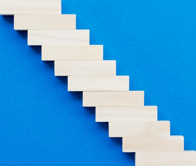 Top view of wooden block making stairs Free Photo