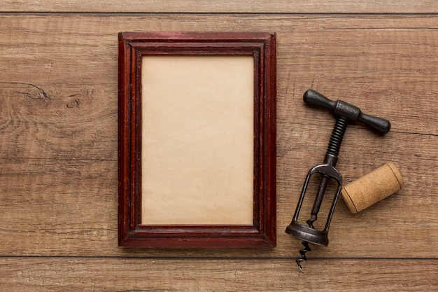 Top view of wooden frame with copy space Premium Photo