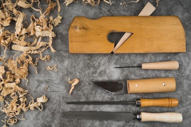 Top view woodworking tools Premium Photo