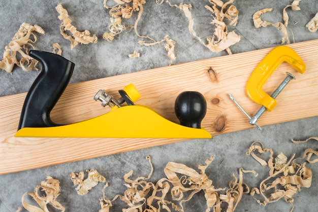 Top view woodworking tools Free Photo
