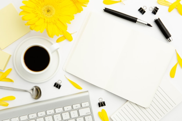 Top view working woman desk Free Photo