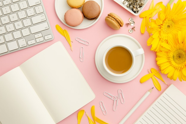 Top view working woman pink desk Free Photo