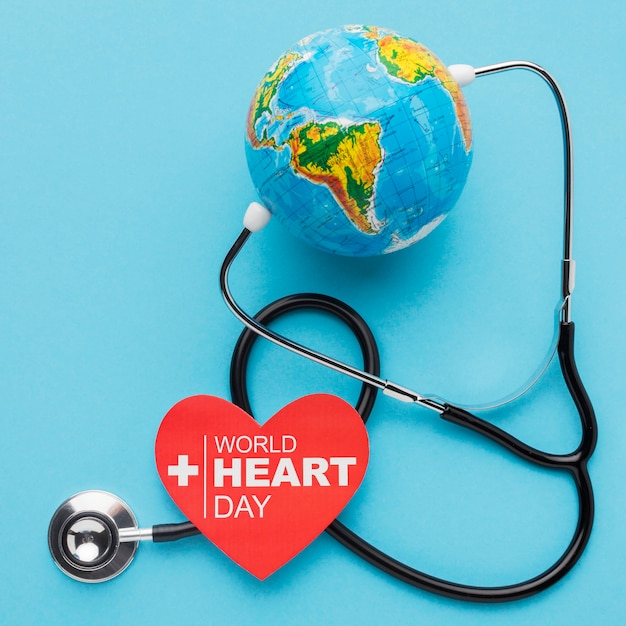 Top view world heart day concept with globe Free Photo