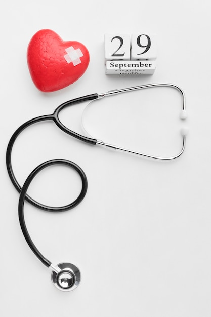 Top view world heart day concept with stethoscope Free Photo