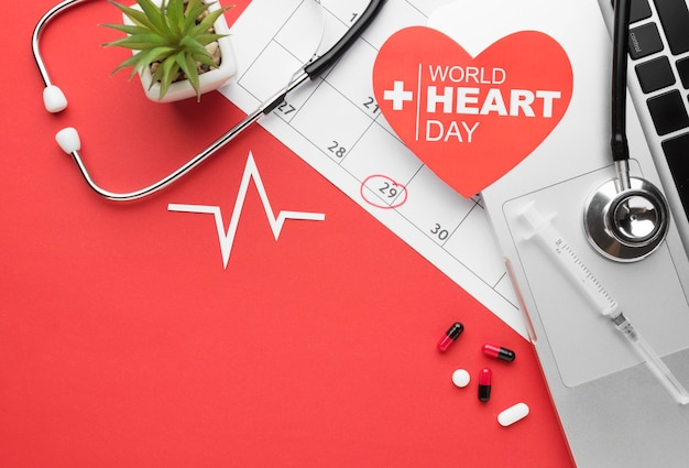 Top view world heart day concept with stethoscope Premium Photo