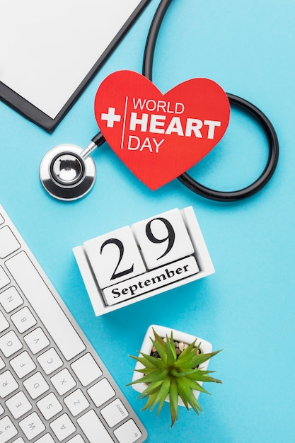 Top view world heart day concept Free Photo