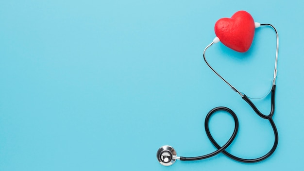 Top view world heart day stethoscope with copy space Free Photo