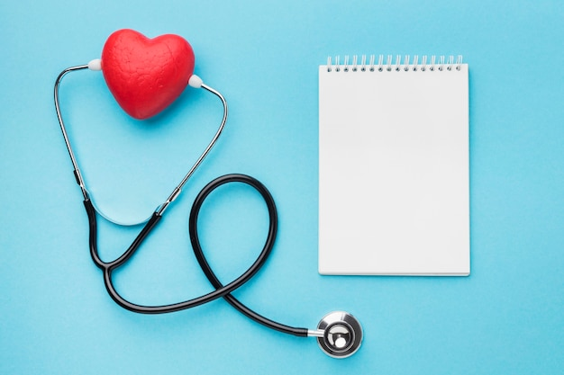 Top view world heart day stethoscope Free Photo