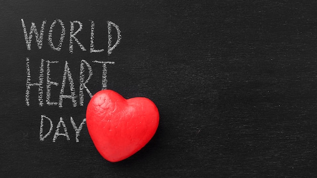 Top view world heart day with copy space Free Photo